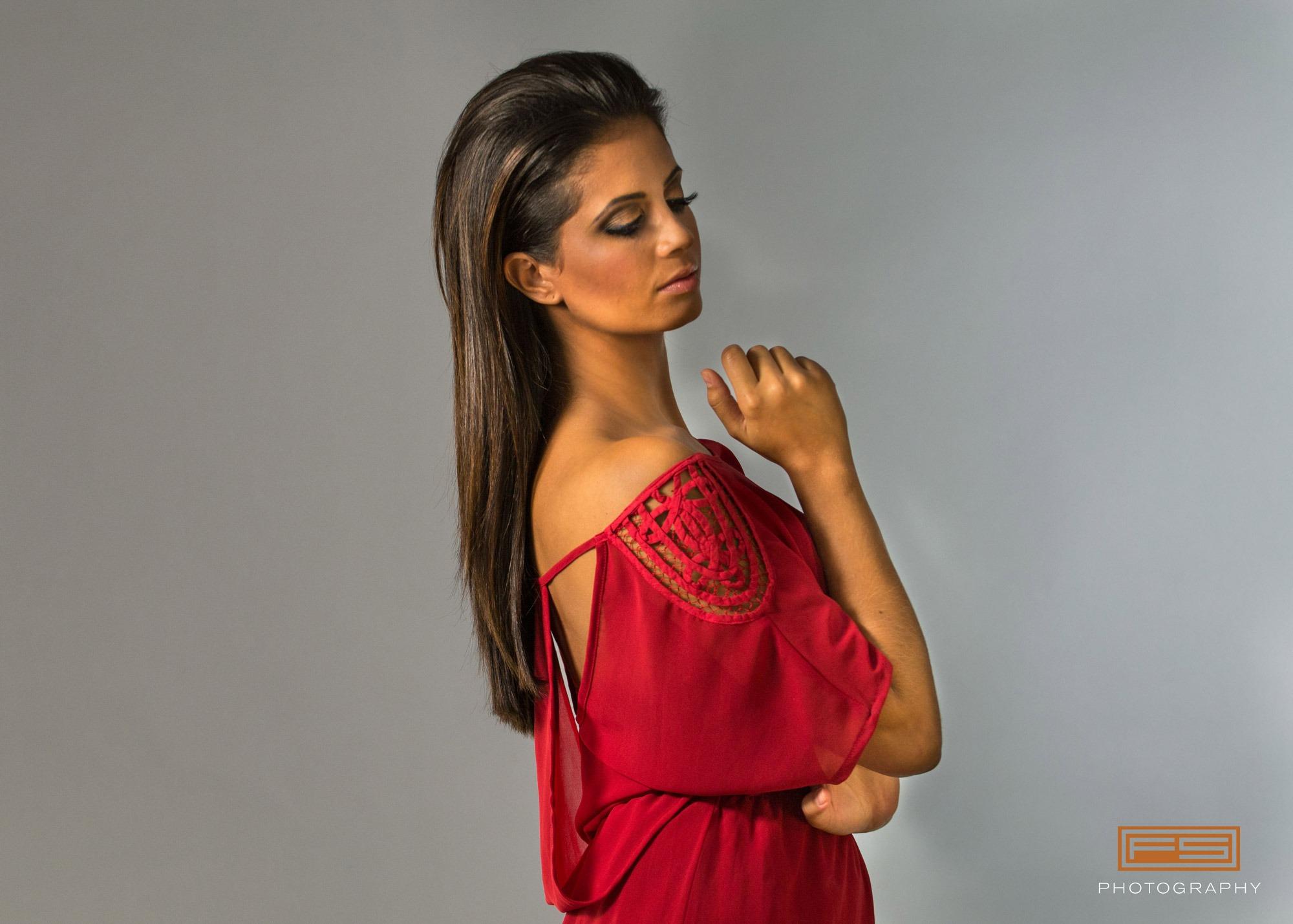 hair model in red dress with hair down fabio scalia hair salon