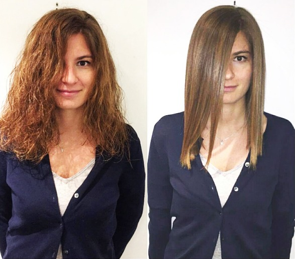 Before and After brunette hair straightening