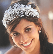 Bride dark hair smiling