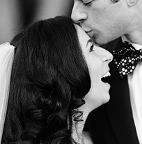 Happy wedding couple kissing