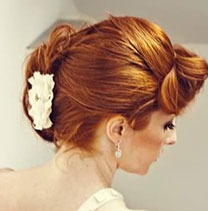 Auburn hair wedding model